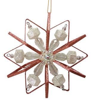 Handmade Holiday Mystical Midnight Glitter Wire Snowflake Ornament