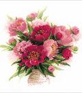 RIOLIS 15.75\u0027\u0027x15.75\u0027\u0027 Counted Cross Stitch Kit-Peonies in a Vase