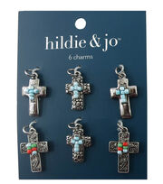 hildie & jo 6 Pack Cross Silver Charms-Blue, Green & Red Beads, , hi-res
