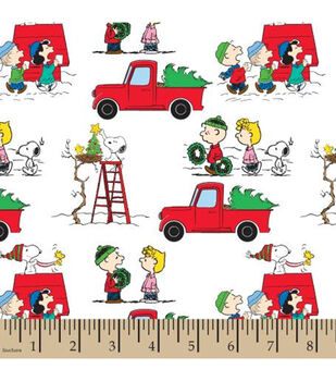 Peanuts Cotton Fabric-Christmas Red Truck