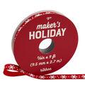 Maker\u0027s Holiday Whimsy Workshop Ribbon 3/8\u0027\u0027x9\u0027-White Snowflakes on Red