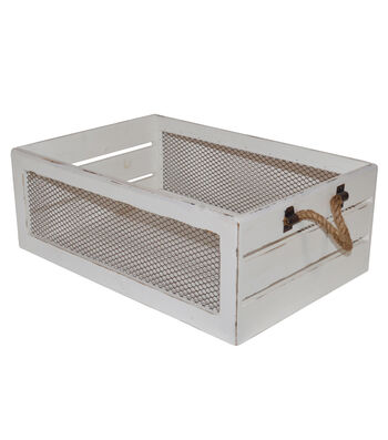 Farm Storage Large Crate with Chicken Wire-White