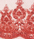 Embroidered Sequin Border Fabric 57\u0022-Tango Red