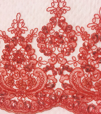 """Embroidered Sequin Border Fabric 57""""-Tango Red"""