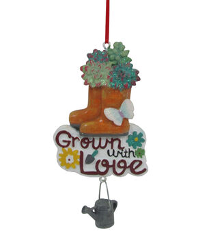 Handmade Holiday Christmas Boot Ornament-Grown with Love