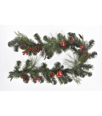 Blooming Holiday Christmas 3''x66'' Pine, Pinecone & Red Bell Garland