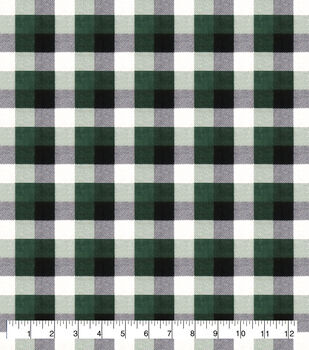 Super Snuggle Flannel Fabric-Green & Black Buffalo Check