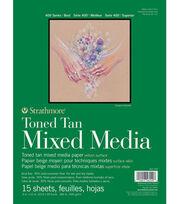 "Strathmore 9""x12"" 400 Series Mixed Media Pad-Toned Tan, , hi-res"