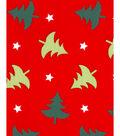Christmas Cotton Fabric 43\u0027\u0027-Christmas Trees & Stars on Red
