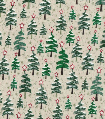 Christmas Cotton Fabric-Zig Zag Christmas Trees