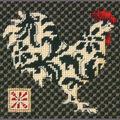 Black&White Rooster Mini Needlepoint Kit-5\u0022x5\u0022 Stitched In Thread