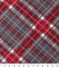 Anti-Pill Plush Fleece Fabric-Vail Gray Red Bias Plaid