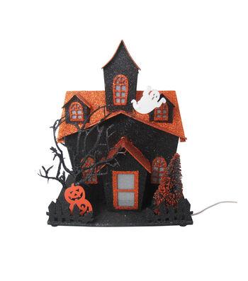 Maker's Halloween LED Haunted House-Orange & Black