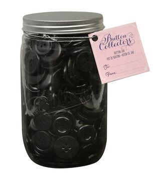 Button Collector Mason Jar-Black