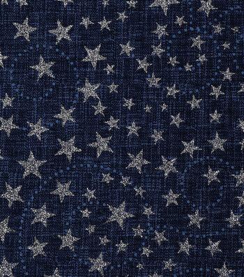Patriotic Cotton Fabric 43''-Blue Glitter Stars & Swirls