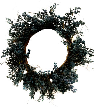 Handmade Holiday Christmas 30'' Berry Wreath-Blue