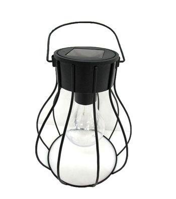 Hello Spring Long Cage Solar Hanging Lantern-Black
