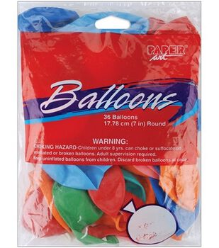 """Balloons 7"""" Round-36PK Assorted Colors"""