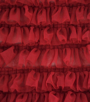 Sew Sweet Mesh Fabric with Ruffles-Tango Red