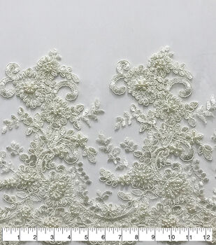 Mesh Sequin Fabric-Double Pearl Embroidery