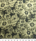 Casa Embellish Spring Floral Brocade Fabric 60\u0022-Black & Gold Metallic