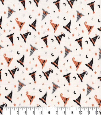 """Halloween Cotton Fabric 43""""-Witches Hats"""