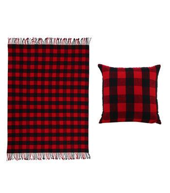 Maker's Holiday Christmas Buffalo Check Pillow & Throw-Red & Black