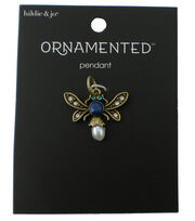 hildie & jo Ornamented Bug Antique Gold Pendant-Crystals & Pearls, , hi-res