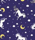 Snuggle Flannel Fabric -Unicorns Navy