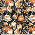 Harvest Cotton Fabric-Black Watercolor Harvest Bounty