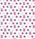 Nursery Flannel Fabric -Lady Bug Dots