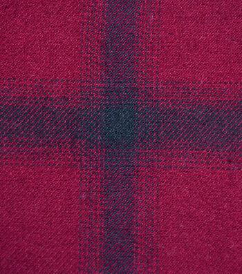 Cotton Shirting Fabric 42''-Black & Burgundy Ombre Plaid