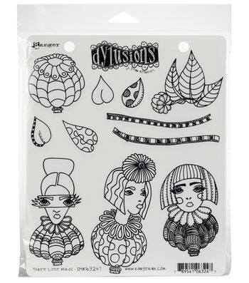 Dyan Reaveley's Dylusions Cling Stamp Collections-Three Little Maids