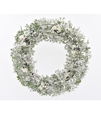 Blooming Holiday Christmas 20'' Berry & Frosted Boxwood Wreath-White