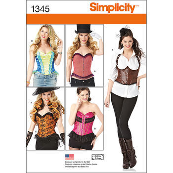 Simplicity Pattern 1345-Misses' Corsets and Ruffled Shrug