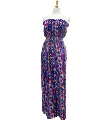 "Style In An Instant 53"" Blouson Dress Rayon Tribal Stripe"