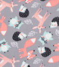 Blizzard Fleece Fabric-Forest Animals on Gray