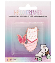 American Crafts Hello Dreamer Cat Adhesive Enamel Sticker, , hi-res