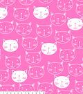 No Sew Fleece Throw 48\u0022-Kitty Faces on Pink