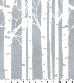 Nursery Flannel Fabric-Hazel Birch Trees