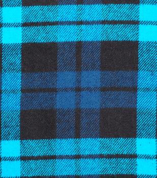 Plaiditudes Brushed Cotton Fabric-Teal, Black & Dark Teal Square Plaid