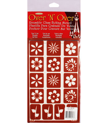Armour Products Over 'N' Over Reusable Stencil 5''x8''-Flowers