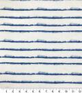 Silky Crinkle Rayon Fabric-White Blue Blurred Stripe