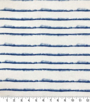 Silky Crinkle Rayon Fabric-White Blue Blurred Stripe