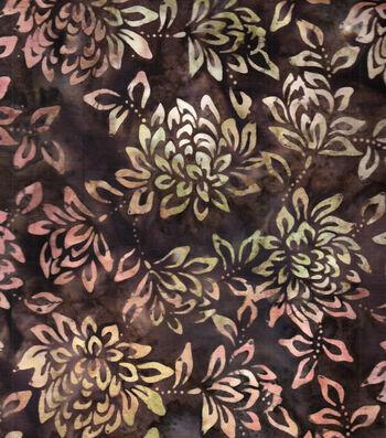 "Legacy Studio™ Indonesian Batiks Cotton Fabric 43""-Light Brown Floral"