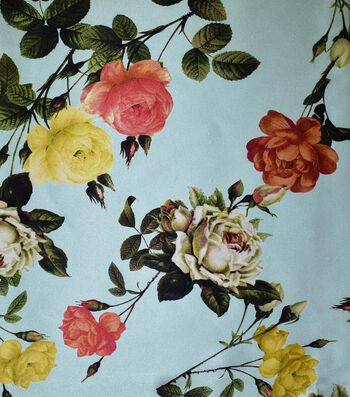 Gianna Printed Charmeuse Fabric 43''-Moon Rose Floral