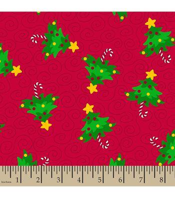 Christmas Print Fabric-Tree Swirls