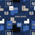 Utah State University Aggies Cotton Fabric -Modern Block