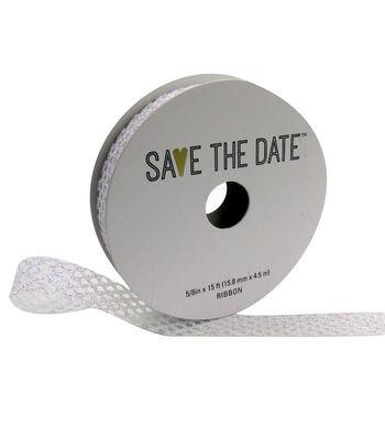 """Save the Date 5/8"""" x 15ft Ribbon-Textured Irridescent Glitter"""