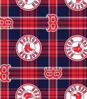 Boston Red Sox Fleece Fabric -Plaid, , hi-res